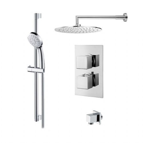 Abacus Emotion Thermostatic Square Concealed Shower Mixer With Round Head And Handset - Chrome